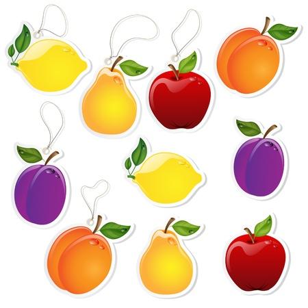 manzana caricatura: Conjunto de etiquetas de frutas con o sin encaje