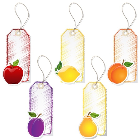 apricot: Set of five fruit labels with lace
