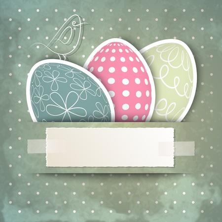 joyeuses p�ques: Mod�le de carte de P�ques heureuse avec des oeufs, des oiseaux et l'espace de copie