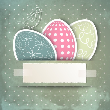 Template for happy Easter card with eggs, bird and copy space Ilustração