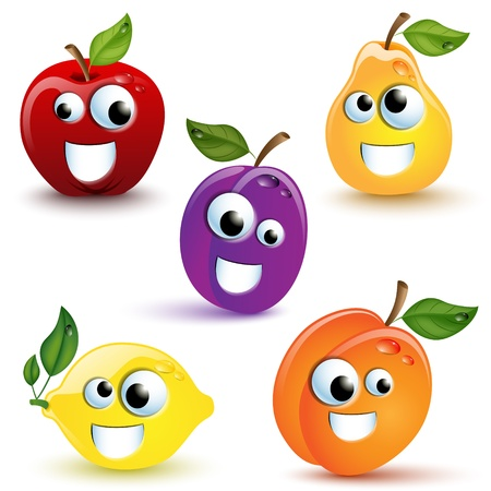 diet cartoon: Set of five funny fruits with mmouth and eyes Illustration