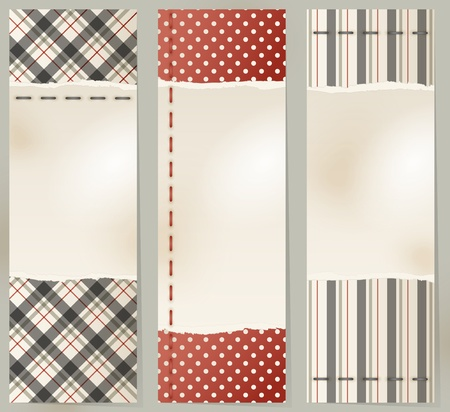vertical banner: Set of three vintage banners made with torn paper