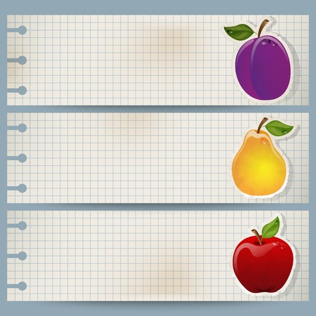 Set of three vintage fruit banners made of squared paper Stock Vector - 13127788