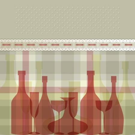 Menu with bottles and glasses Vector