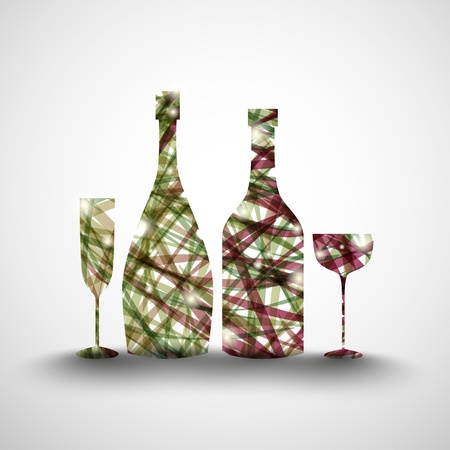 Background with abstract bottles and glasses  Vector