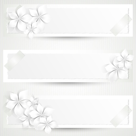 Set of three banners with white flowers and copy space Stock Vector - 17379558