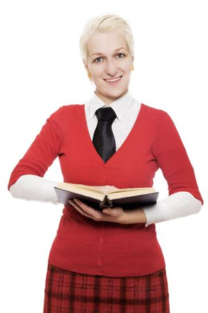 Girl with book in a red (isolated) Stock Photo - 5738796