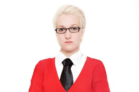 shoked: Portrait of a young woman in red with tie (isolated) Stock Photo