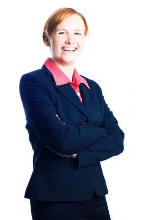 actuary: Business Lady in suit laughting (isolated) Stock Photo
