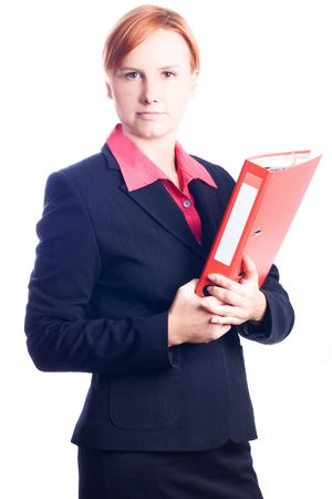 intercommunication: Beauty business woman with red folder (isolated)