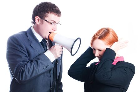 Chief cries out with a mouthpiece (isolated) Stock Photo - 5738827