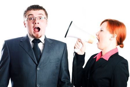 Lady boss cries out with a mouthpiece (isolated) Stock Photo - 5738825
