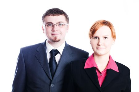 Business man and woman in smiling (isolated) Stock Photo - 5738824