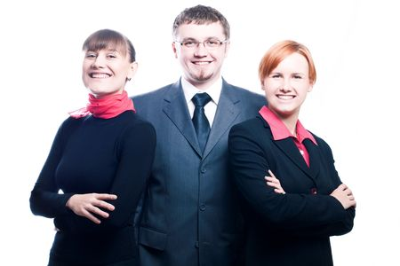 Happy business men and women (isolated) Stock Photo - 5738818