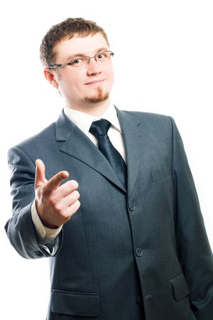 Happy Business man in motion (isolated) photo