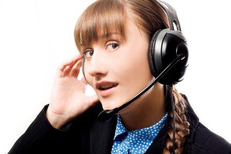 Call operator with Headphones (isolated) Stock Photo - 5738834