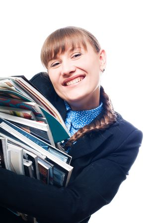 banian: Young beauty woman with magazines (isolated) Stock Photo
