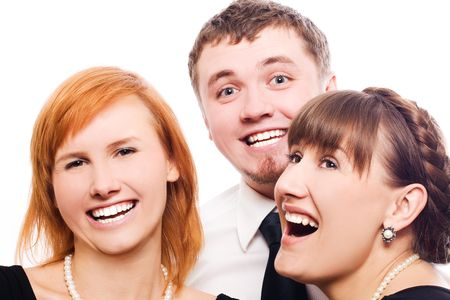 happy workers laughting and smiling in company party (isolated) Stock Photo - 5738831