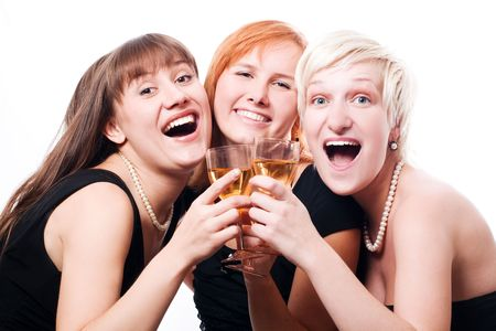 Happy hen-party in black dress (isolated) Stock Photo - 5738823