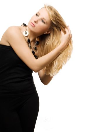 catena: Portrait of beauty young woman in black dress (isolated) Stock Photo