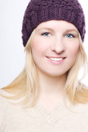 distantly: portrait of a beauty woman in a warm hat