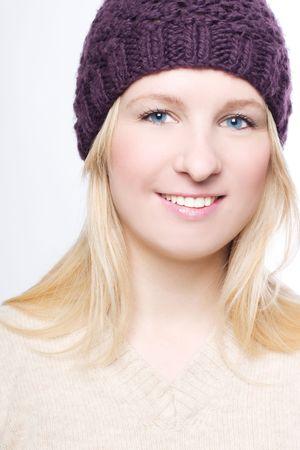 frostily: portrait of a beauty woman in a warm hat