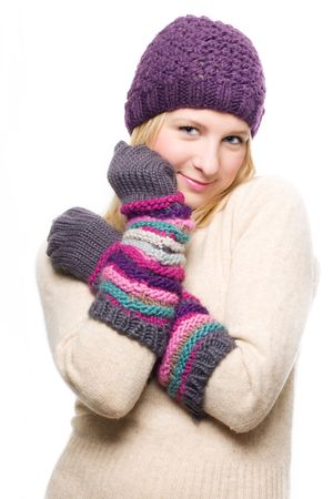 frostily: portrait of a beauty young woman in a warm hat