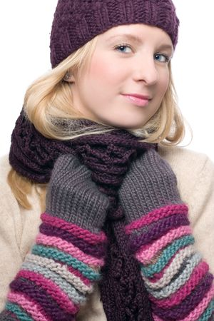 frostily: portrait of a beauty young woman in a warm hat and gloves Stock Photo