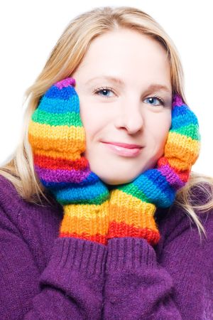 distantly: Young woman in a bright colorful gloves