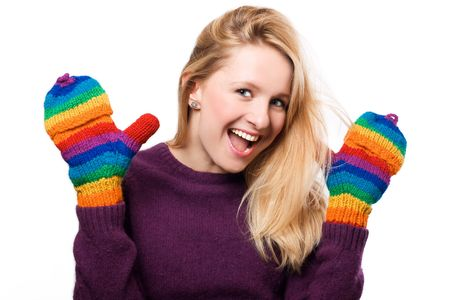 frostily: Happy beauty woman in a colorful gloves (isolated)
