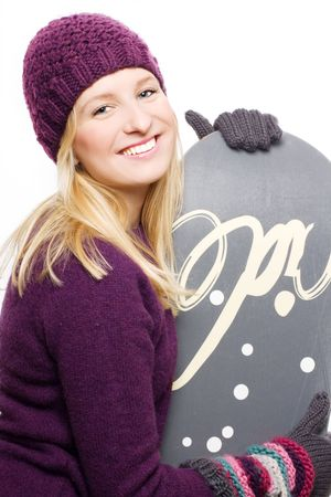 frostily: Beauty young woman with snowboard (isolated)