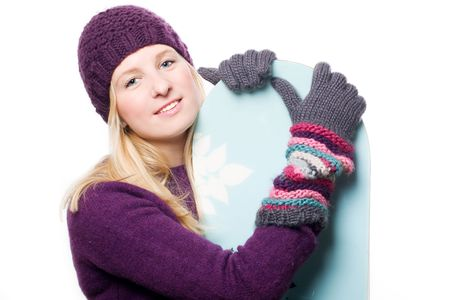 distantly: Beauty young girl with snowboard (isolated)