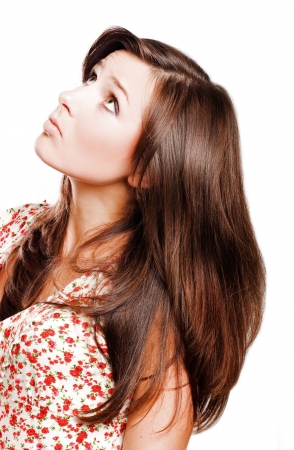 catena: portrait of a Beauty young woman with long brown hairs (isolated)