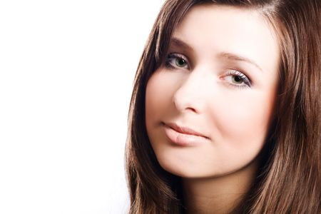catena: Face of Beauty young woman with perfect make-up (isolated)