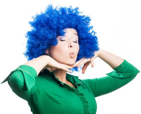 hilarity: Beauty young woman in a blue wig