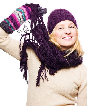 frostily: beauty young woman with hat, gloves and scarf (isolated)