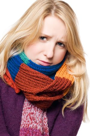 frostily: sick beauty young woman in a scarf (isolated)