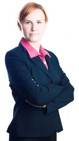 beauty young business woman in suit (isolated) photo