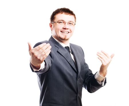 colloquium: young smiling business manin a suit (isolated) Stock Photo