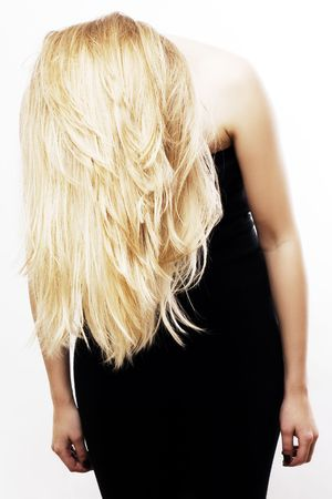 sconce: blonde hairs of young woman (isolated) Stock Photo
