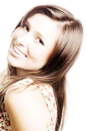 hilarity: portrait of a beauty young woman with brown hairs
