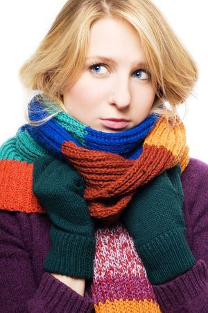 ail: beauty young sick woman with scarf and gloves (portrait) Stock Photo