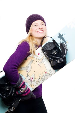 beauty young woman with blue snowboard (isolated) photo