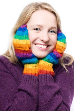 distantly: young beauty laugh woman in colorful gloves (portrait)