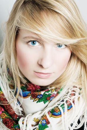frostily: portraie of a beauty young woman with scarf