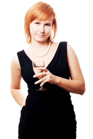 beauty young woman with wine on the party (isolated) Stock Photo - 5827274