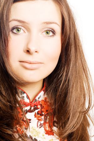 catena: Portrait of a beautiful young woman with luxury long brown hair, green eyes and good makeup (isolated)