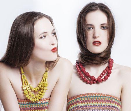 portrait of a couple beauty young women photo