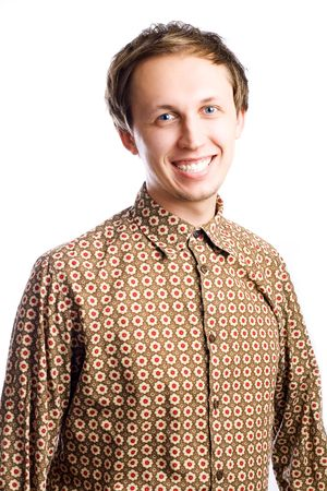 portrait of a beauty young man in stylish shirt (isolated) Stock Photo - 5869326