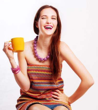 beauty young laugh woman with yellow cup